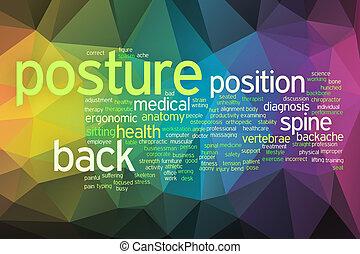 postura, concepto, palabra, nube, en, un, bajo, poly, plano de fondo