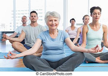 postura, gente, deportivo, loto, condición física, estudio