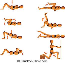 postura, ginásio, esticar, instruções