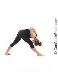 postura, instructor, joven, hembra, yoga, demostración