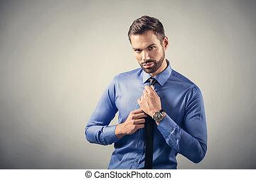 postura, joven, confiado, portrait., sexy, hombre, guapo