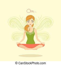 postura, mujer que medita, loto