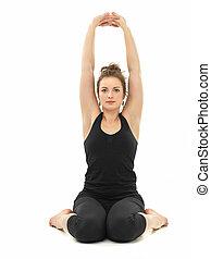 postura, mujer, yoga, joven, sentado