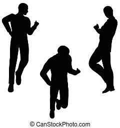 postura, silueta, alegre, hombre