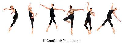 posturas, ballet, pointe, estudio, en