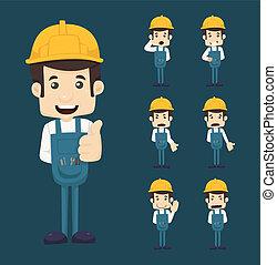 posturas, conjunto, caracteres, ingeniero
