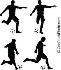 posturas, de, jugadores del fútbol, siluetas, en, corra, y,...