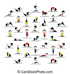 posturas, gente, yoga, su, practicar, diseño, 25