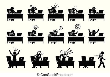 posturas, sentimientos, computadora, vario, emotions., utilizar, niña, acciones