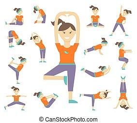 posturas, yoga, hembra