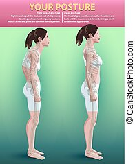 Posture - Vector illustration: a bad and perfect posture on...