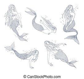 postures, samling, hånd, stram, adskillige, havfrue, set., illustration, naiad., kontur