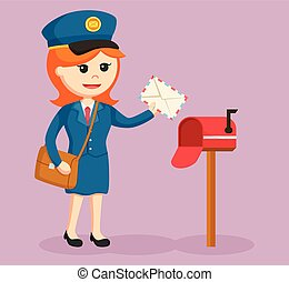 postwoman with mail box