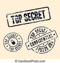 postzegel, bovenzijde, set, geheim