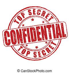postzegel, bovenzijde, vertrouwelijk, geheim
