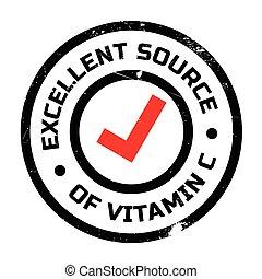 postzegel, bron, c, vitamine, uitstekend