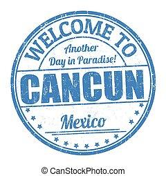 postzegel, cancun, welkom, of, meldingsbord