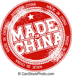 postzegel, china, gemaakt, grunge, vector