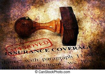 postzegel, concept, verzekeringsdekking, goedgekeurd