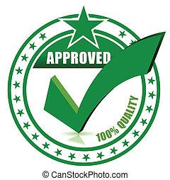 postzegel, controleren, goedgekeurd