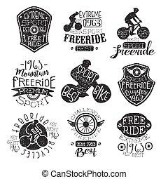 postzegel, de fiets van de berg, verzameling, ouderwetse