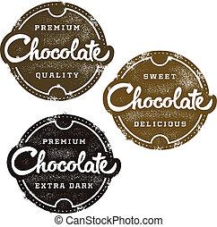 postzegel, dessert, chocolade