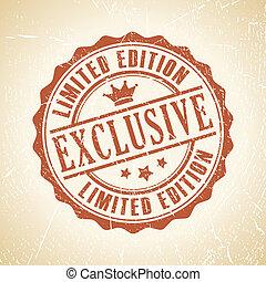 postzegel, exclusief, vector