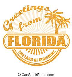 postzegel, florida, begroetenen