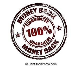 postzegel, geld, back, borg staan voor