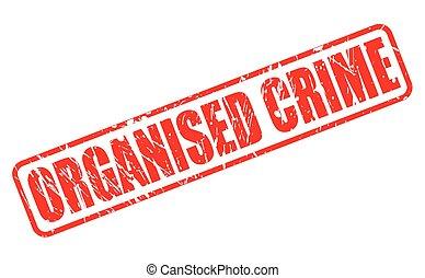 postzegel, georganiseerde, misdaad, rood, tekst