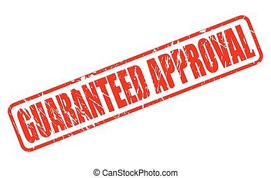 postzegel, goedkeuring, guaranteed, rood, tekst