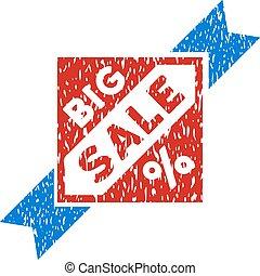 postzegel, groot, vector, grunge, verkoop