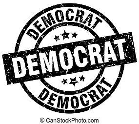 postzegel, grunge, black , democraat, ronde