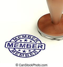 postzegel, het tonen, lid, lidmaatschap, inschrijving,...