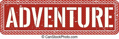 postzegel, illustratie, avontuur, achtergrond, wit rood