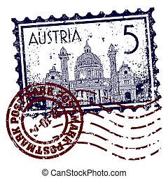 postzegel, illustratie, oostenrijk, vector, poststempel, of