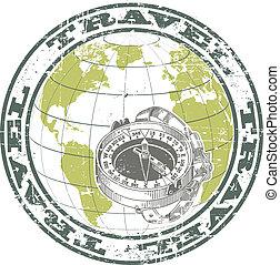 postzegel, kompas