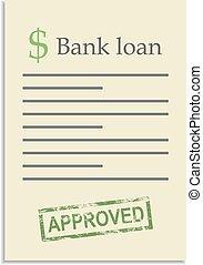 postzegel, lening, document, goedgekeurd, bank