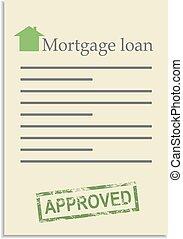 postzegel, lening, document, goedgekeurd, hypotheek