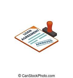 postzegel, lening, pictogram, overeenkomst, goedgekeurd
