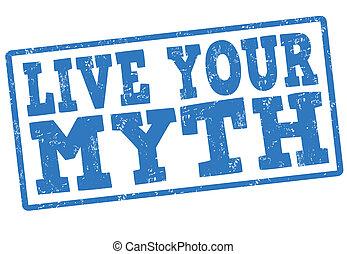postzegel, leven, jouw, mythe