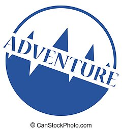 postzegel, logo, blauwe , avontuur