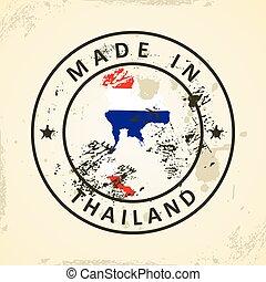 postzegel, met, kaart, vlag, van, thailand