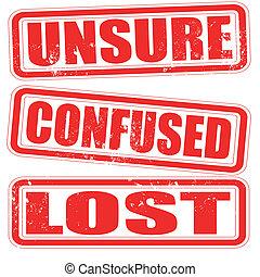 postzegel, onzeker, verward, verloren