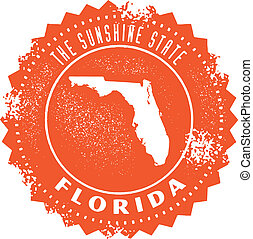 postzegel, ouderwetse , staat, florida