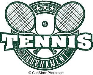 postzegel, ouderwetse , tennis, toernooi