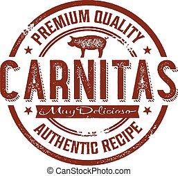 postzegel, ouderwetse , varkensvlees, mexicaanse , carnitas
