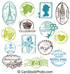 postzegel, ouderwetse , -, verzameling, jouw, rubber, vector, plakboek, ontwerp