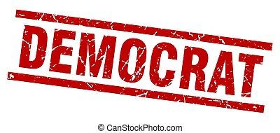 postzegel, plein, grunge, democraat, rood