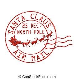 postzegel, post, claus, kerstman, lucht